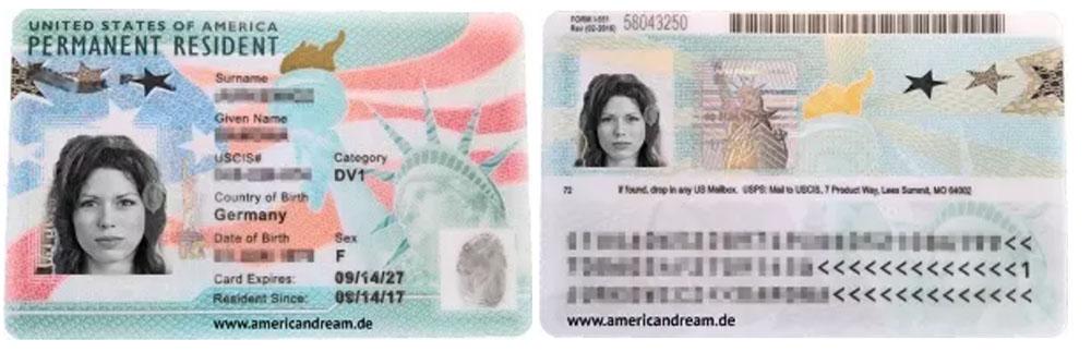 تصميم البطاقة الخضراء الأمريكية